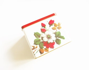 Floral tea tin: Charming bright red and brightly coloured 1960s tea tin, screen printed with roses, floral tin, biscuit tin, cake tin