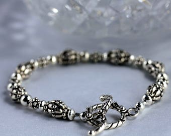 Bali Silver & Shiny Sterling Silver Bead Bracelet