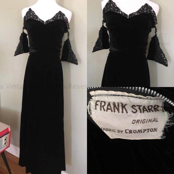 RESERVED 1940s True Glamour Frank Starr Gorgeous Black Velvet Strapless Gown with Off The Shoulder Lace Straps-XS