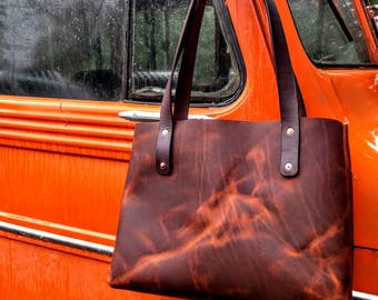 Medium Leather Tote - Sunset Oil Tan Leather