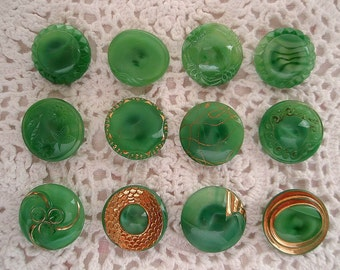 Vintage Green Glass Buttons Variety of 12 for Crafts Supplies Sewing  1950s