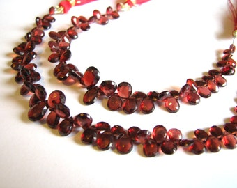 Garnet briolettes, faceted pear briolettes, full 6.5 inch strand, 5-9mm (w40)