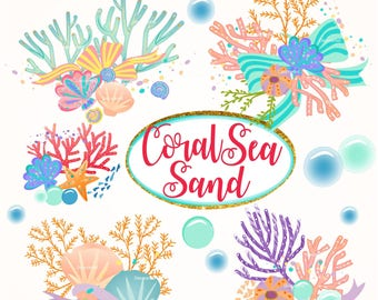 ON SALE> Summer Coral clipart- sea shell clipart, summer Undersea Digital clipart, seashell digital clipart, printable, scrapbooking