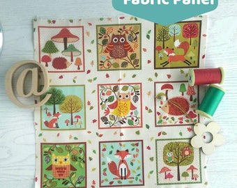"""Fabric Panel Cotton Forest Friends. Orange & green 12"""" square Patchwork Applique Quilting Freehand Embroidery"""