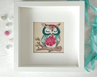 Oriental Owl by Lillyblossom framed freehand embroidered picture. French knot flowers. Sleepy owl