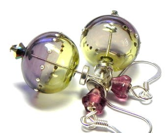 Mojito and Purple hollow Lampwork glass bead Earrings - Silver droplets - Plum Czech beads
