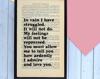 Jane Austen Quote - Mr Darcy - In Vain I Have Struggled - Pride and Prejudice - Romantic - Wedding Gift - Girlfriend Gift - Boyfriend Gift