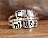 Sterling Silver Stackable Name Rings - Ring Gift Set - Custom Name Jewelry - Personalized Ring, Silver Stacking Ring Sets
