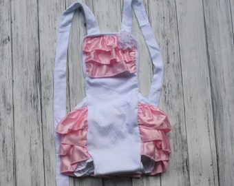 Baby Romper - 4th of July Romper - White with Pink Satin Ruffles - Baby Sunsuit - Bubble Romper - Ruffle Bottom -1st Birthday Outfit