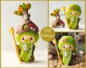 PDF. The wizard Father Forest. Plush Doll Pattern, Softie Pattern, Soft felt Toy Pattern.