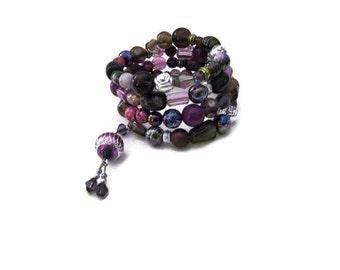 Bohemian Wire Wrap Purple Bracelet Gypsy Jewelry