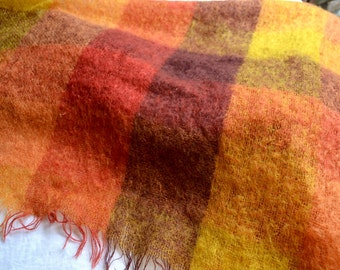 Vintage Mohair Wool Blanket Throw - Montrose Australia Autumn Color Plaid