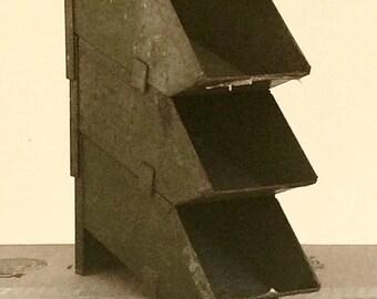 Set of 3 Vintage Industrial Metal Stacking Bins