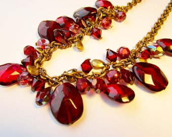 Vintage Garnet Red Crystal Art Glass Large Faceted Teardrop Choker Necklace Collar AB Dangle Charms Art Nouveau Victorian Style 80's Gift
