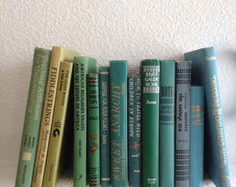 vintage beach house blue and green book set