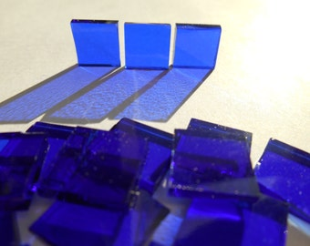 "100 Pieces 1/2"" x 1/2"" Sapphire Cobalt Blue Stained Glass Mosaic Tiles Hand cut"