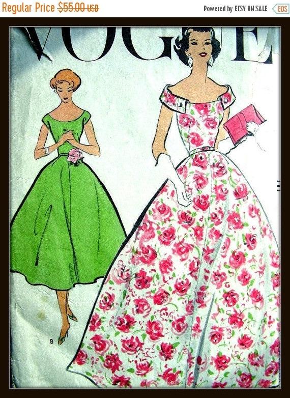 SALE:) UNCUT 1950s Vintage VOGUE Evening Gown Dress Sewing Pattern 9150 - Gorgeous - Size 14 Bust 34
