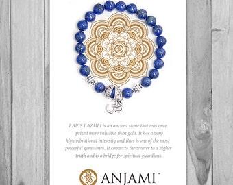 LAPIS LAZULI,Mala Bracelet,Beaded Bracelet,Gemstone Bracelet,Yoga Jewelry,Inspirational Jewelry,Healing Jewelry, Gift for Her