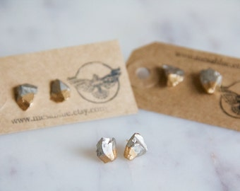 Silver Chip, Hand Gilded, Silver and Gold Post Earrings