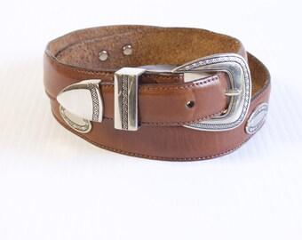 Vintage Mens brown western leather belt size 36