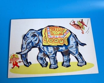 Vintage Sewing Card Elephant Circus children's 1950s/60s toy lassie mid century kids play craft acrobat tightrope zoo