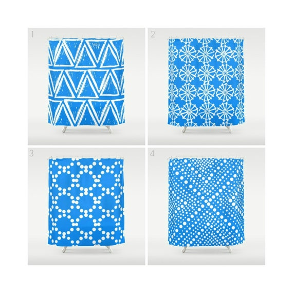 Sky Blue Shower Curtain - Geometric Shower Curtain - Modern Shower Curtain - White Shower Curtain - Triangle Shower Curtain - Blue and White