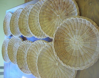 Lot of 11 Rattan Paper Plate Holders Made in Hong Kong Tags