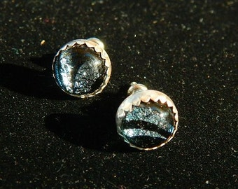 Sterling Silver with Silvery Blue and Black Dichroic Glass Post Earrings , Hand crafted, EP5