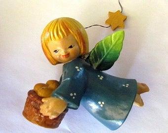Vintage 1974 Juan Ferrandiz Flying Angels Hanging Ornament Anri Italy Angel with Fruit Basket