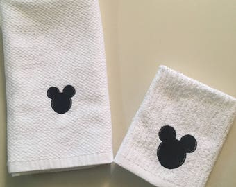 Mickey Head Tea Towel and Dishcloth