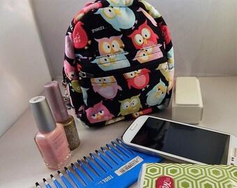 Owl Print Owl Charm Graduation Teen Teacher Gift Mini Backpack Makeup Bag Cosmetic Travel Bag Organizer Bag Cute