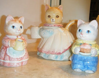 Kitten Tea Set with Avon Creamer and Sugar Cat Feline Lover Childs Glass Tea Service Vintage Serving 1991 Collectible Tea Pot Tail Handle
