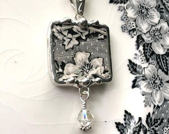 Broken china jewelry necklace pendant Victorian black white toile English transferware with crystal