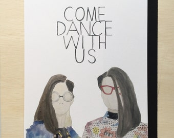 Come dance with us, watercolor print with Jlaw and Jimmy Fallon