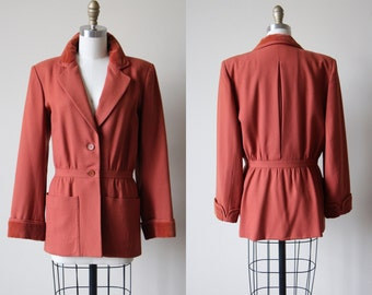 70s Valentino Designer Coat - Vintage 1970s Terracotta Brown Wool Gabardine Wool Coat w 1940s Style M L - The Good Earth Jacket