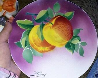 K & G Luneville Handpainted Apples Plate- Obert