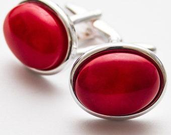 Red cufflinks.  Cuff Links. Red Sea Bamboo.  Gemstone.  Oval.  Sea Bamboo Cufflinks.  Hand Crafted.  Gifts For Men.  Groom Cufflinks.