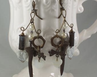 Long Bullet Nail Nut Heart Leaf Mother of Pearl repurposed assemglage earrings by ceeceedesigns on etsy