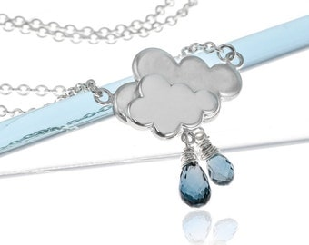 Silver Raincloud Necklace | Sterling Silver Cloud Necklace | April Showers Necklace | Ethical Jewellery