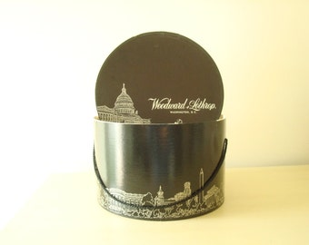 Vintage 1950s hatbox, Woodward & Lathrop black and white hat box, Washington D.C., Capitol Building, boudoir decor, bedroom storage,