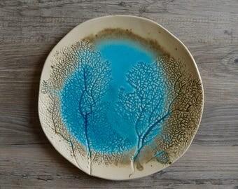 Handmade Ceramic Pottery, Ceramic Serving Platter, Coral  Beach, Turquoise plate,  Nautical platter,  Handmade Tableware,  cake plate