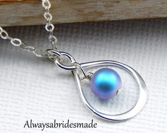 Something Blue,Bridal Jewelry,Pearl NecklaceBridal Necklace,Infinity Necklace
