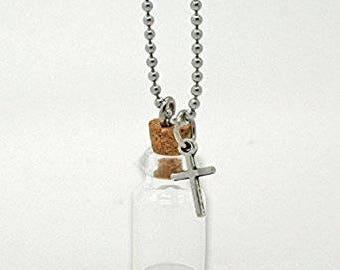 Cross Ashes Holder - Pet Memorial - Urn Necklace - Ash Jar - Cremation Pendant