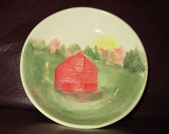 "Big Red Barn Handmade Ceramic wall hanging   5""                                              200"
