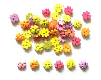 100 pcs  Clover flower buttons 10 mm mix colors