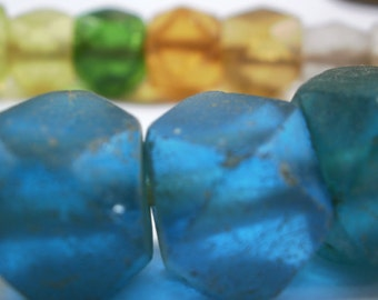 Antique Trade Beads Czech VASELINE Bead Strand Unusual Shapes and Colors Melon Squared Teal Red Clear Amber Yellow Emerald Bright Turquoise