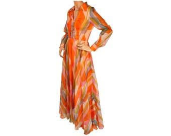 Vintage 1960s Orange Organza Maxi Dress Wild Print Murray G Sophisticates Size S M