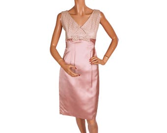 Vintage 60s Cocktail Party Dress Pink Satin with Lace Bodice Small