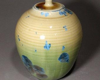 Yellow Moss Green Blue Crystalline Glazed Porcelain Bud Vase