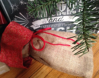 """Christmas Gift Bag!  Burlap with Fabric bag inside.  7 1/2"""" x 12""""   Available in custom sizes."""